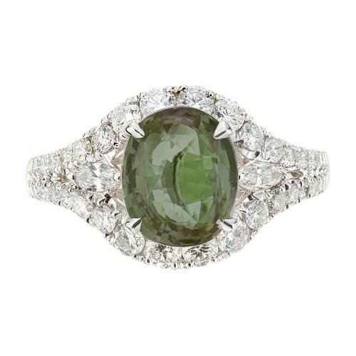 GIA Certified 3.00 Carat Alexandrite Diamond Halo Gold Engagement Ring