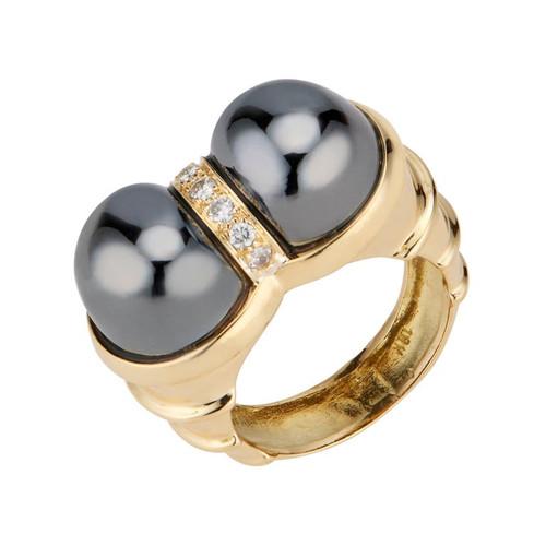 .14 Carat Diamond Hematite Bead Yellow Gold Cocktail Ring