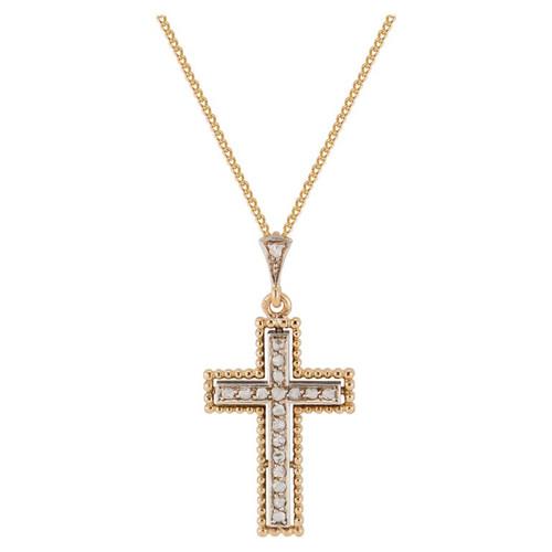 .25 Carat Diamond Yellow Gold Silver Cross Pendant Necklace