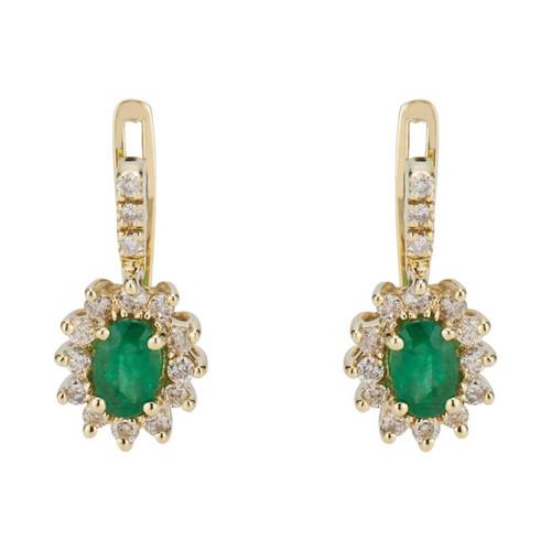 1.00 Carat Emerald Diamond Lever Back Yellow Gold Earrings