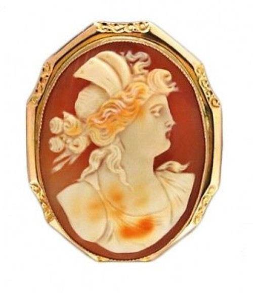 Vintage Estate 10k Yellow Gold Frame Oval Hand Carved Shell Cameo Pin Pendant