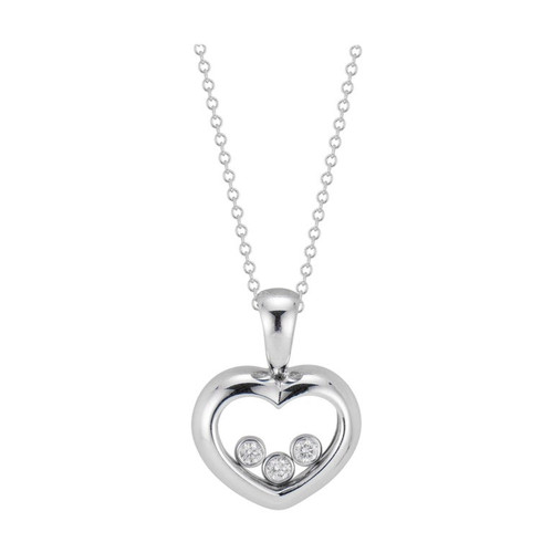 .12 Carat Diamond White Gold Open Heart Pendant Necklace