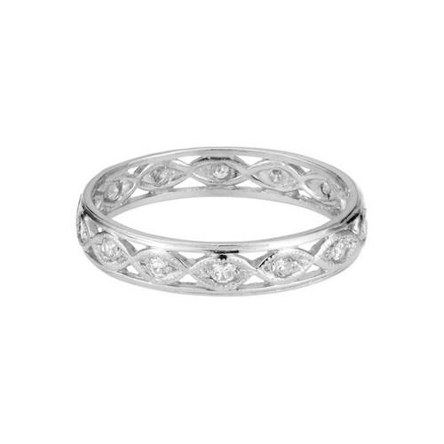1940's .35 Carat Diamond Platinum Open Work Eternity Wedding Band