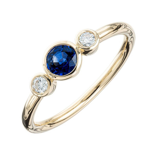 Peter Suchy .38 Carat Sapphire Diamond Gold Three-Stone Engagement Ring