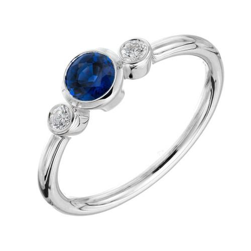 Peter Suchy .50 Carat Blue Sapphire Diamond Gold Three-Stone Engagement Ring