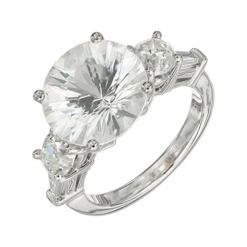 Peter Suchy GIA Certified 6.56 White Sapphire Diamond Platinum Engagement Ring