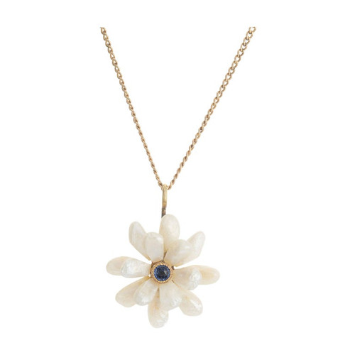 GIA Certified Freshwater Baroque Pearl Sapphire Yellow Gold Pendant Necklace