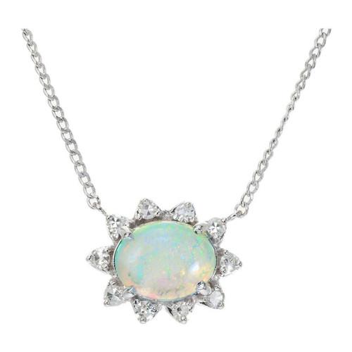 1.25 Carat Opal Diamond Halo White Gold Pendant Necklace