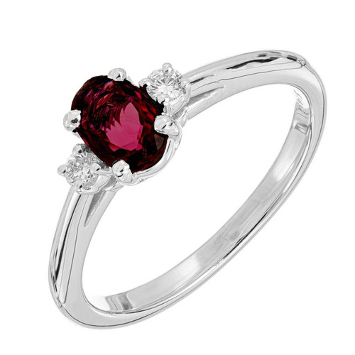Peter Suchy .58 Carat Ruby Diamond White Gold Three-Stone Engagement Ring