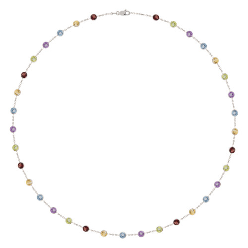 8.50 Carats Multi-Color Gem Stone White Gold By the Yard Necklace