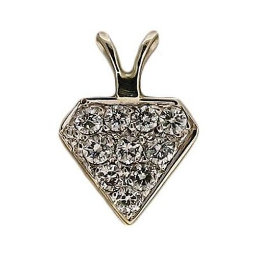 Vintage Estate Pave Set 10 Diamond .20ct 14k Diamond Shaped Pendant Superman Fan