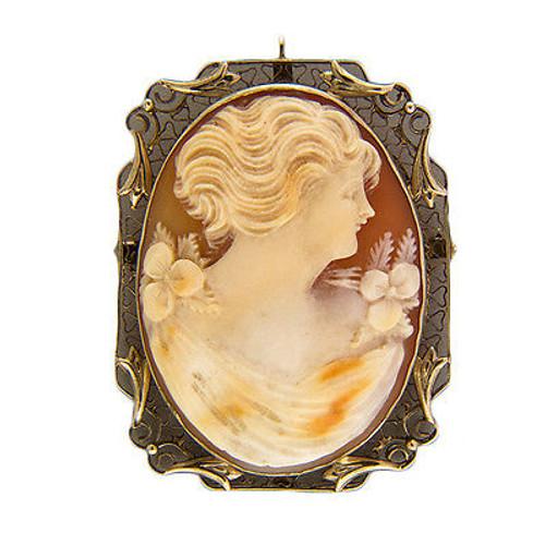 Vintage Carved Shell Cameo 14k Bezel Filigree Pin Pendant 1 1/2 X 1 1/8 Inch