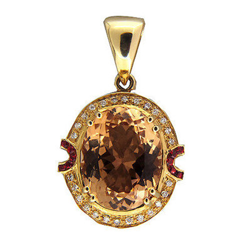 Vintage Golden Brown 17.00ct Oval Precious Topaz Diamond Ruby Pendant 14k Gold