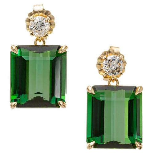 Peter Suchy 11.74 Carat Tourmaline Diamond Yellow Gold Dangle Earrings