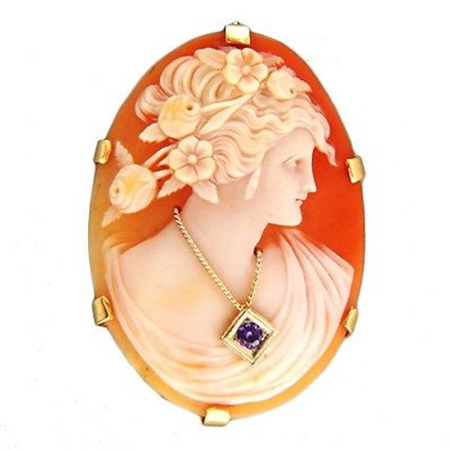 Vintage Carved Shell Woman's Profile Cameo Pin Pendant 14k Amethyst Necklace