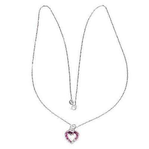 Vintage Krypell 18K White Gold .05ct Diamond .20ct Pink Sapphire Pendant