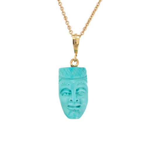 GIA Certified Natural Turquoise 18k Gold  Carved Face Pendant Necklace