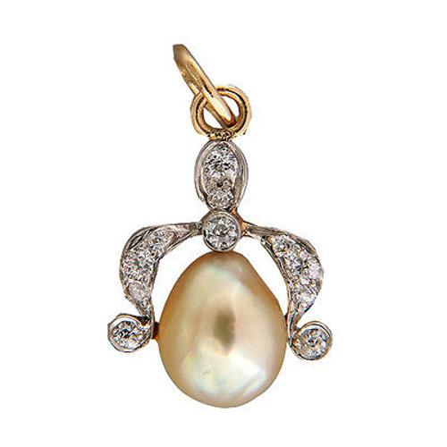Vintage Victorian 14k Gold Natural Cultured Pearl Old Mine .10CT Diamond Pendant