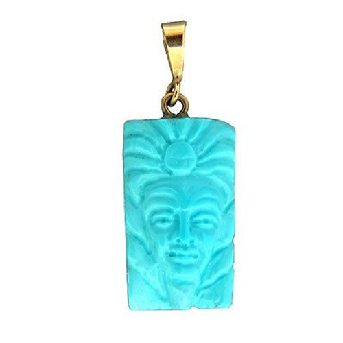 Vintage Untreated Certified Carved Indian Inca Turquoise Face 18k Bail Pendant