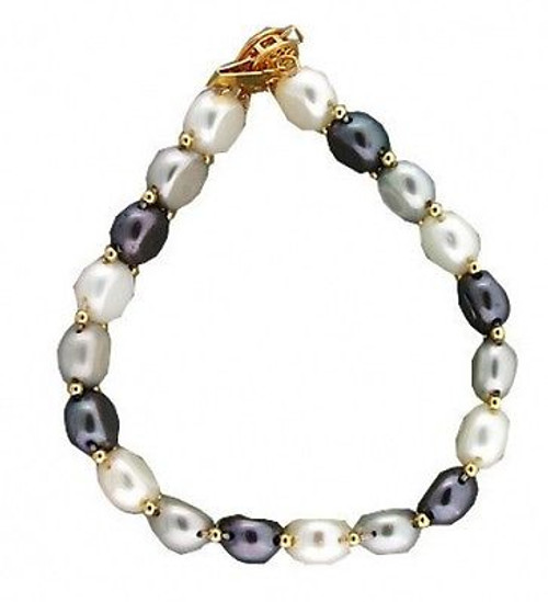 Estate 14k Yellow Gold Spacers Catch White Grey Black Fresh Water Pearl Bracelet