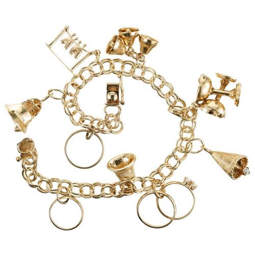 Vintage Yellow Gold Double Spiral Link Wedding Theme Charm Bracelet