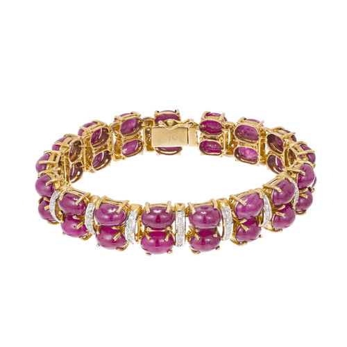 Vintage 28ct Oval Cabochon Ruby & Diamond Hinged White & Yellow Gold Bracelet