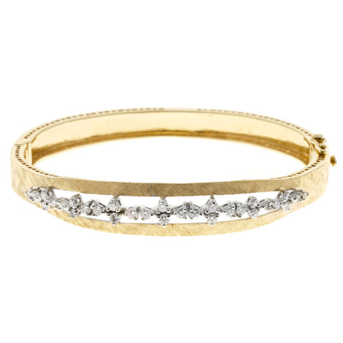 Estate 1960S 14k Solid Gold Hand Florentined 30 Full Diamond Bangle Bracelet