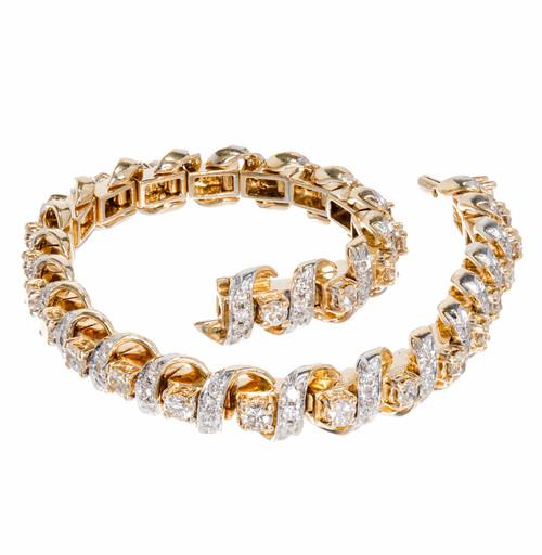 Vintage 18k Fine Heavy Swirl Link Diamond Tennis Bracelet