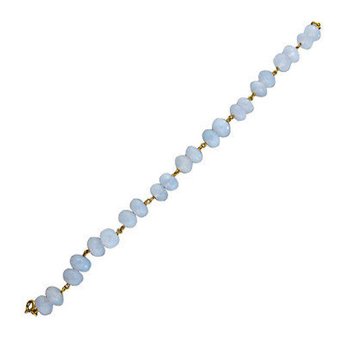 Vintage 35ct Blue Chalcedony 14k Gold Twisted Wire Faceted Rondelle Bracelet