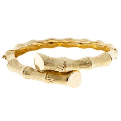 Vintage Estate Bypass Bamboo 14k Gold Hinged Bangle Bracelet