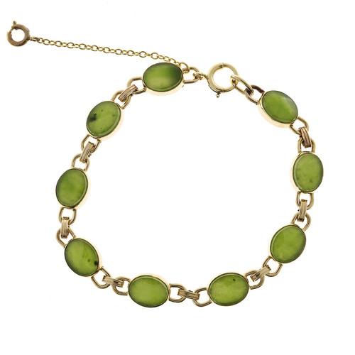 Vintage Oval Translucent 9 Green Chrysophase 14k Gold Hinged 10 X 8mm Bracelet