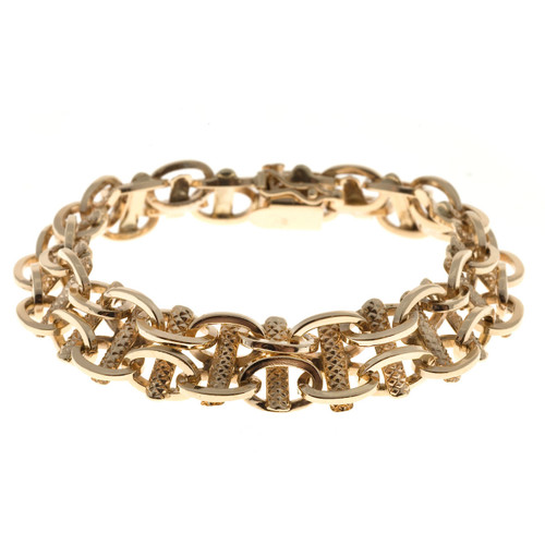 Vintage 14k Rose Gold 1/2 In Wide 2 Row Oval Link Textured Connectors Bracelet