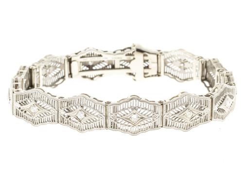 Vintage 1950s Esemco Platinum Top 14k Hinged Filigree .25ct Diamond Bracelet