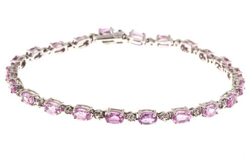 Vintage 22 Oval Pink Sapphire 10 Round White Diamond 14k Hinged Link Bracelet