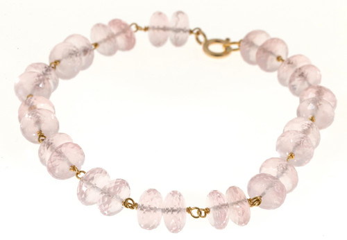 Vintage 40 Carat Morganite Faceted Rondelle Bead 14k Gold Wire Connect Bracelet