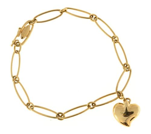 Vintage Tiffany + Co Else Peretti Bracelet With Tiffany Heart Charm 18k Gold