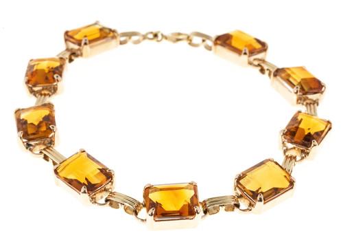 Vintage Art Deco 14k Pink Gold Natural 9 Madera Citrine 26.10ct Hinged Bracelet