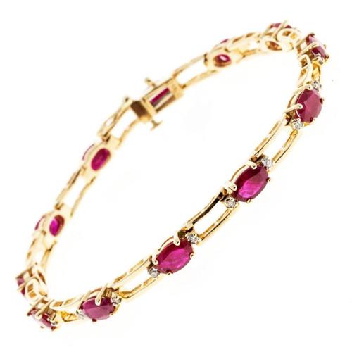 Vintage Estate 7.20ct Oval Ruby 14k Yellow Gold .20ct Diamond Bracelet