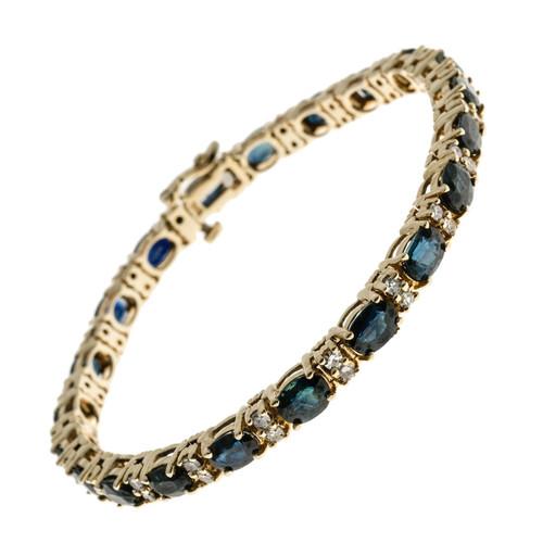 Vintage Oval Royal Sapphire 0.84ct Diamond 14k Yellow Gold Hinged Link Bracelet