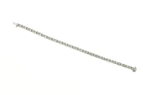 Vintage Round Baguette Diamond 18k Hinged Link Bracelet 3.32ct 7 Inches Long