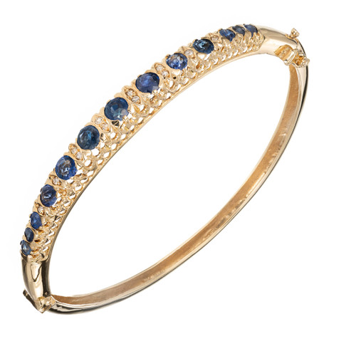 2.10ct Oval Sapphire Diamond 14k Bangle Bracelet