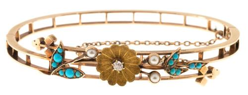 Vintage Victorian 14k Pink Gold Persian Turquoise Pearl Hinged Bangle Bracelet