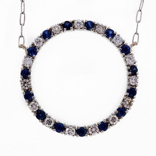 Vintage Platinum Open Circle Diamond .75ct Sapphire Necklace