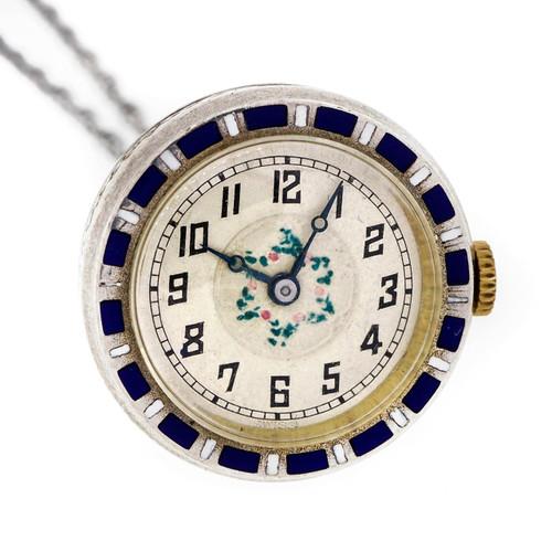 1925 Silver  Watch Blue Enamel Necklace Pendant