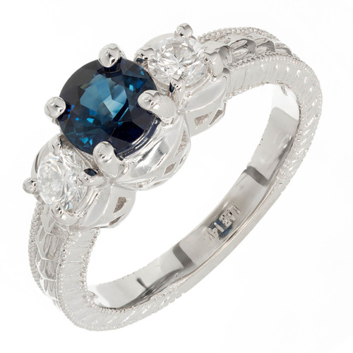 Estate Bright Blue 1.00ct Sapphire Diamond Three Stone Engagement Ring