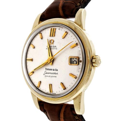 Tiffany Omega 14k Gold Seamaster Calendar Automatic Watch