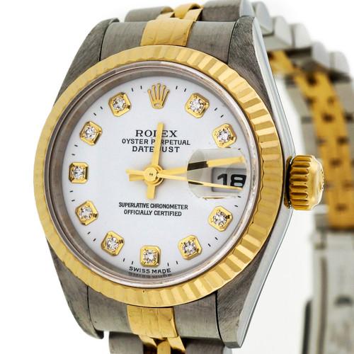 Ladies Rolex white Diamond Dial Factory Original 79173 Datejust 18k Steel
