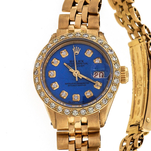 Ladies Rolex 18k Yellow Gold Datejust Custom Color Blue Dial Diamond Bezel 6517