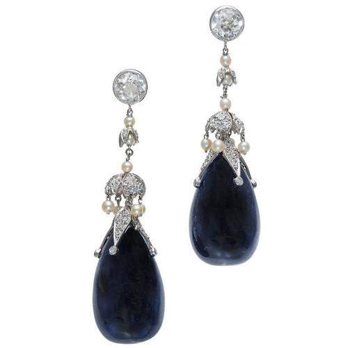 82.82 Carat Sapphire Diamond Pearl Belle Époque Platinum Dangle Earrings