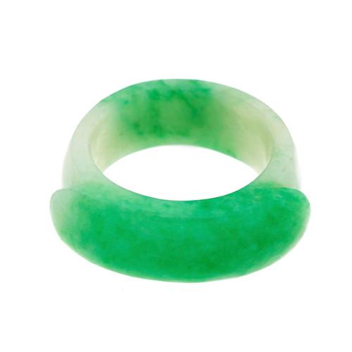 Vintage Natural Jadeite Jade Hololith Ring GIA Certified
